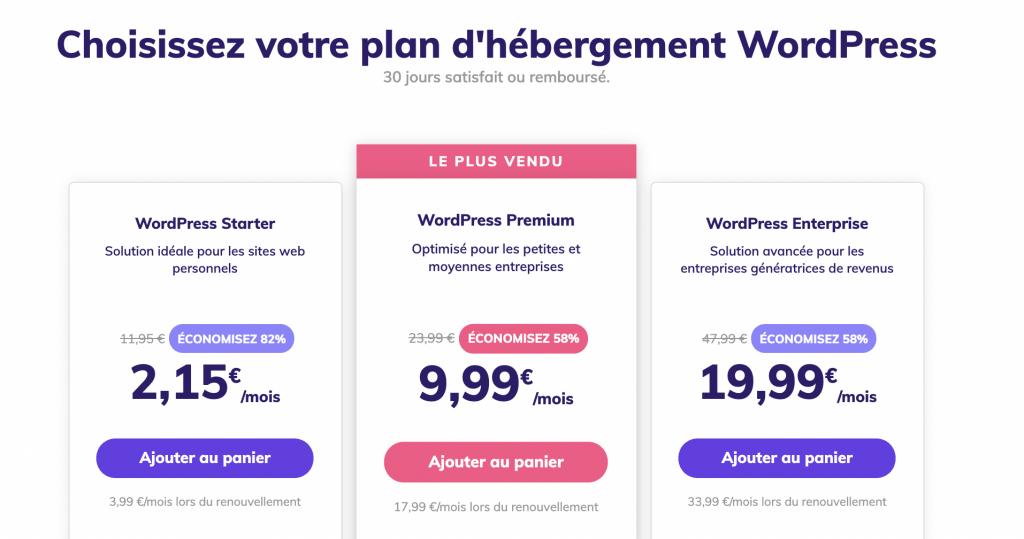 Tarifs des hébergements WordPress chez Babelweb