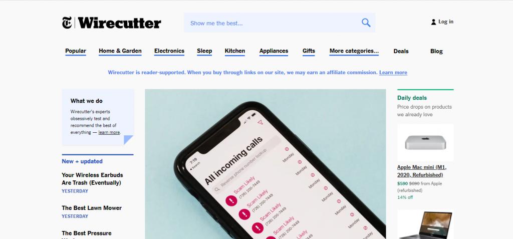 Capture d'écran du site web The wirecutter