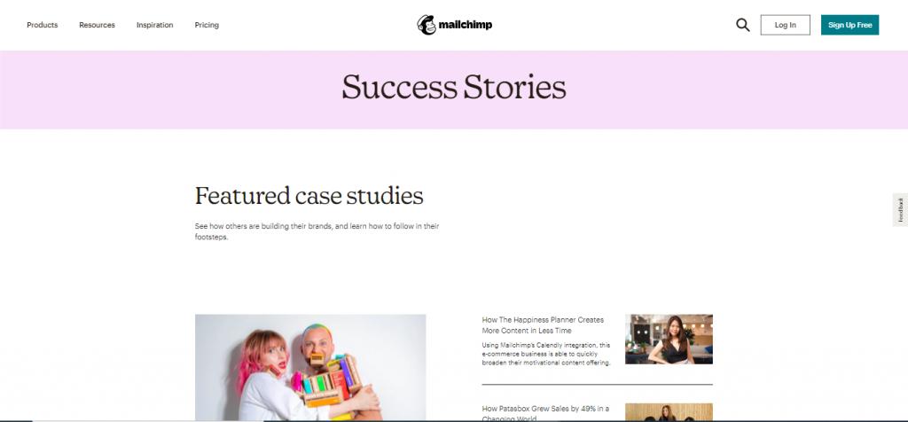 Capture d'écran de la page success stories sur le site  mailship