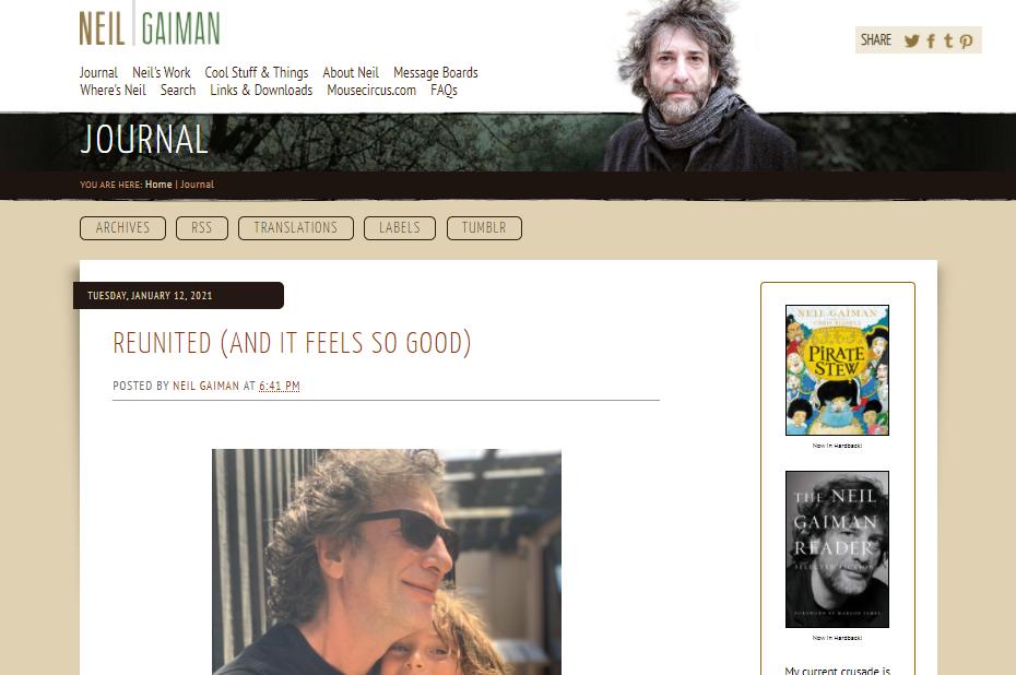 Capture d'écran du site de Neil Gaiman