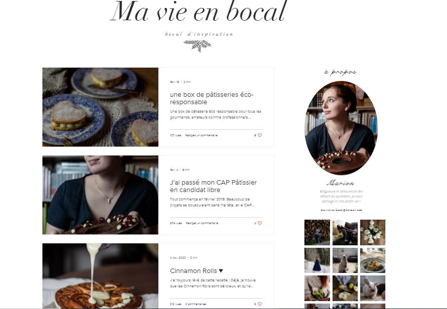 Capture d'écran du site Ma vie en Bocal