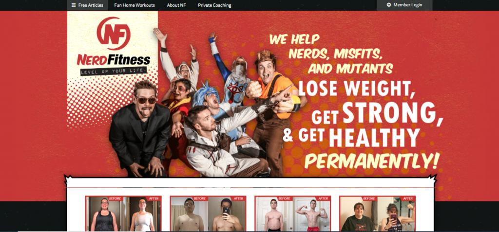 Capture du site web Nerd fitness
