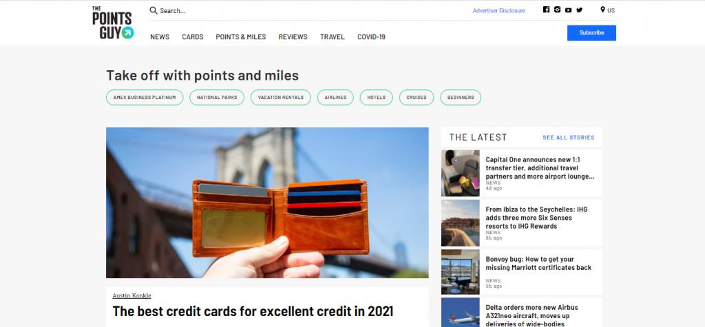 Capture d'écran du site the points guy