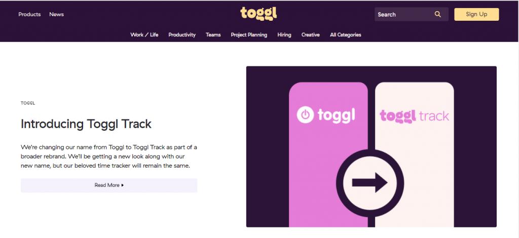 Capture d'écran page d'acceuil de l'outil Toggl