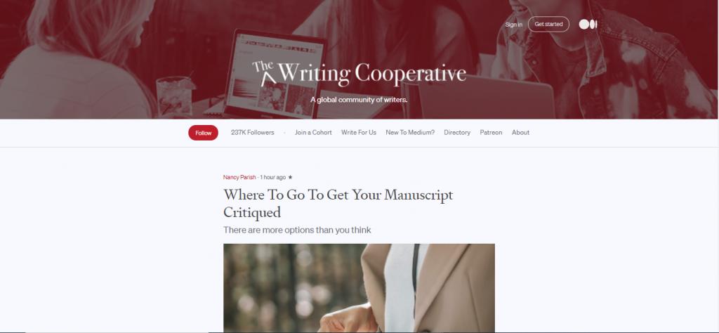 Capture d'écran du site The writers