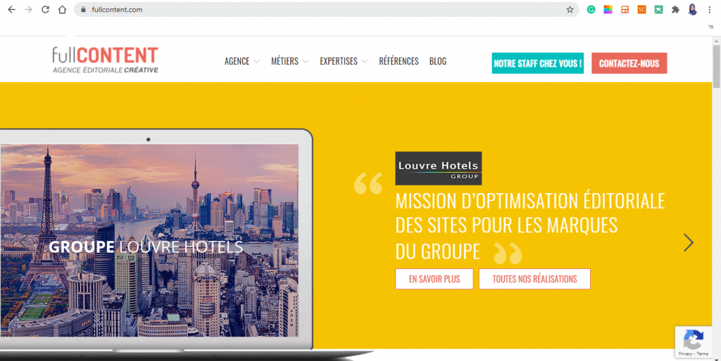 capture d'écran du site français fullcontent