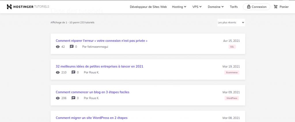 Liste des tutoriels de Hostinger en français