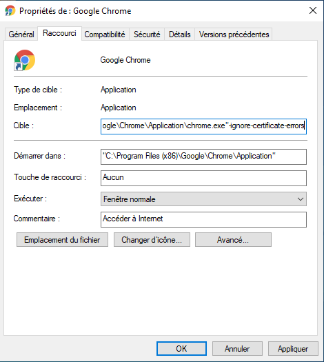 Capture d'écran sur comment ignorer le certificat ssl sur Google Chrome