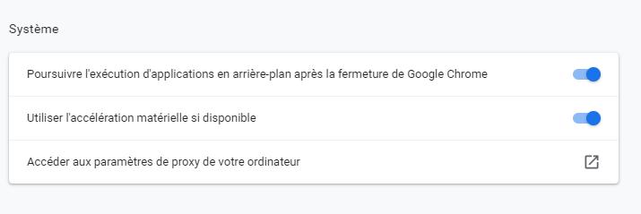 Capture d'écran dans les paramètres de Google pour accéder au site via un proxy